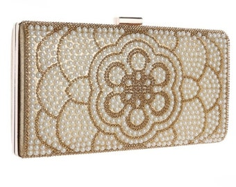Beautiful Gatsby Inspired Chic Crystal Clutch Bag, Bridal Bag, Wedding Bag Gold Deluxe Party or Event Clutch Bag