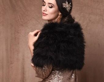 Black Marabou Feather Wrap - Beautiful Vintage Inspired Shrug, Stole