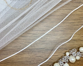 "32"" Pencil Edge - 2 Tier Soft Tulle Lace Wedding Veil, 32 inches, 82 cm - Ivory or White Veil, Waist Length"