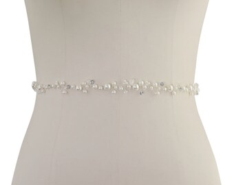 Beautiful Bridal Belt, Pearl Embellished Belt,  Wedding Dress Belt