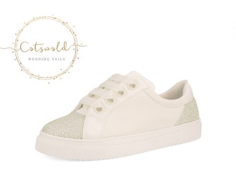 Beautiful Bridal Trainers, Classic Satin & Glitter Sneakers Shoes, with Glitter Trim