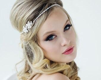 Beautiful Dainty Chic Vintage Inspired Headpiece, Brow Band, Bridal Accessories, Bridesmaid Hair, Bridal Headpiece,  Crystal & Pearl