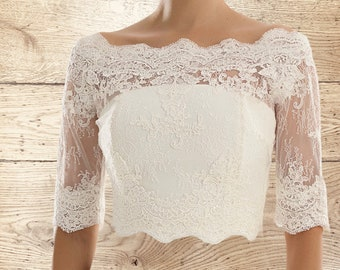 Beautiful Lace Bolero - Wedding Dress Cover Up Accessories,  Ivory Lace