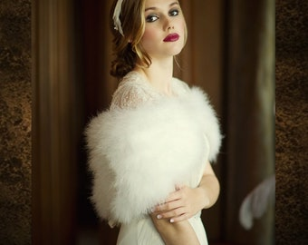 Ivory Marabou Feather Stole - Beautiful Vintage Inspired Shrug, Wrap