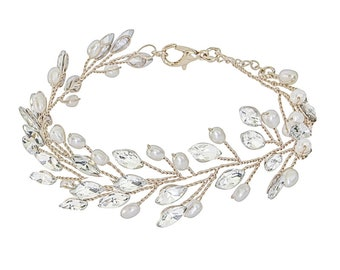 Pearl & Crystal  Vine Bracelet, Available in Silver, Rose Gold or Gold, Bridal Accessories, Wedding Jewellery, Bridesmaid Gifts