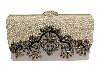 Beautiful Gatsby Inspired Embellished Clutch Bag, Bridal Bag, Wedding Bag, Gold,  Silver or Black Deluxe Party or Event Clutch Bag