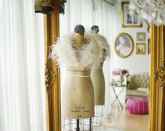 Ostrich Feather Stole, Luxury  - Beautiful High Quality Ivory Shrug, Wrap