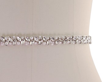Beautiful Bridal Belt, Chic Crystal Belt,  Wedding Dress Belt