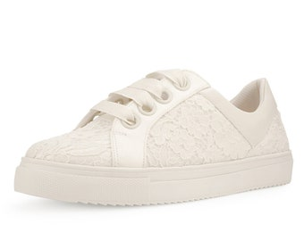 Lace Bridal Trainers, Classic Satin & Lace Sneakers Shoes, Extra Comfort Bridal Trainers, Bridal Accessories, Lace Trainers, Ivory Lace