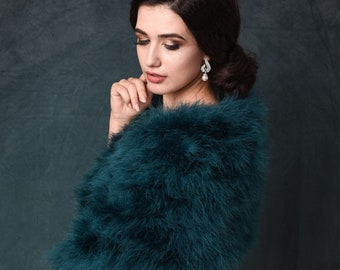 Teal Green, Teal Blue Marabou Feather Wrap - Beautiful Vintage Inspired Shrug, Stole