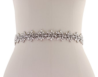 Bejewelled Bridal Belt, Wedding Dress Belt, Rose Pink Or Ivory / Silver Crystal Bridal Belt