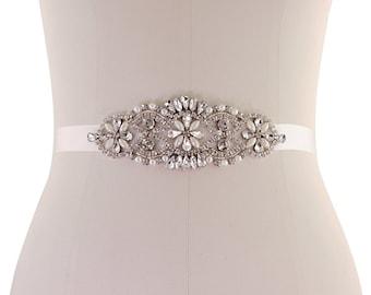 Beautiful Bridal Belt, Timeless Elegance Pearl & Crystal Belt,  Wedding Dress Belt, Ivory or Rose Pink