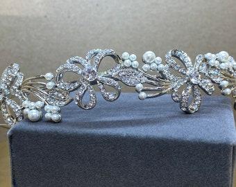 Beautiful Bridal Headband, Chic Crystal Treasure Headband,  Silver, Gold or Rose Gold Bridal Accessories, Bridesmaid Hair