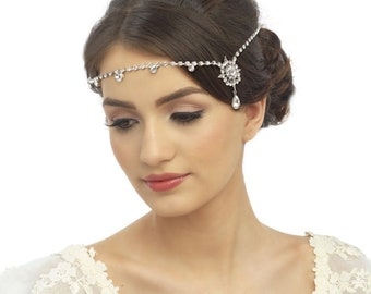 Crystal Luxe Brow Band, Forehead Headband, Bridal Accessories, Bridesmaid Hair, Bridal Headband