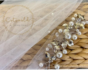 "32"" Genuine Swarovski & Pearl Wedding Veil, Pencil Edge 2 Tier Tulle Veil 32 inches, 82 cm - Ivory Veil, Waist Length, Bridal Boutique Veil"