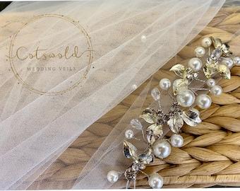 "32"" Genuine Swarovski & Pearl Wedding Veil, Pencil Edge 2 Tier Tulle Veil 32 inches, 82 cm - Ivory Veil, Waist Length, Bridal Boutique Veil"
