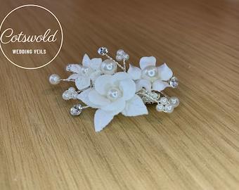 Beautiful Train Pin, Wedding Dress Train Pin, Floral & Pearl Dress Pin, Bridal Gown Clip