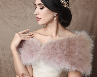 Blush Pink Marabou Feather Stole - Beautiful Vintage Inspired Shrug, Wrap