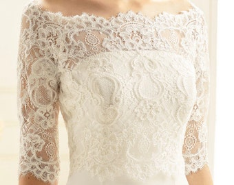 Beautiful Lace Bolero - Wedding Dress Cover Up Accessories,  Ivory Lace Shrug