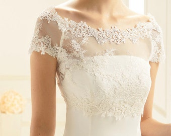 Beautiful Stretch Tulle & Lace Bolero - Wedding Dress Cover Up, Bridal Accessories,  Ivory Lace, Bridal Top