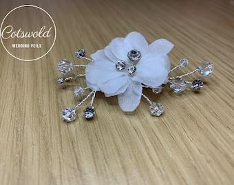 Beautiful Train Pin, Wedding Dress Train Pin, Floral & Crystal Dress Pin, Bridal Gown Clip
