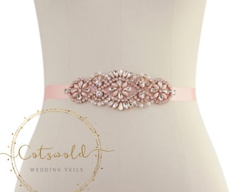 Beautiful Rose Gold Bridal Belt, Wedding Dress Belt, Pink Rose Crystal & Pearl Bridal Belt