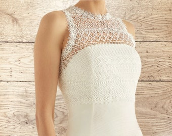 Boho Lace Bolero - Wedding Dress Cover Up Accessories,  Ivory Keyhole Back Lace Cover Up, Lace Bridal Top