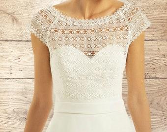 Beautiful Boho Lace Bolero - Wedding Dress Cover Up Accessories,  Ivory Lace Shrug, Cap Sleeve Bridal Bolero Top