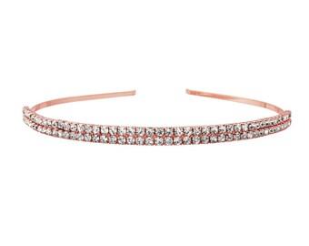 Beautiful Two Row Crystal Headband, Rose Gold Bridal Accessories, Bridesmaid Hair