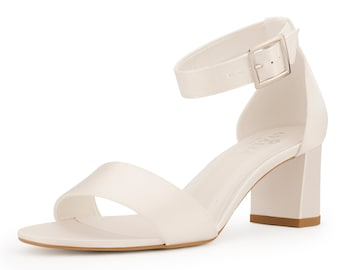 Beautiful Bridal Shoes, Ivory Satin Thick Strap Brides Shoes, Mid Heel Bridal Shoes, Classic Wedding Shoes, Extra Comfort