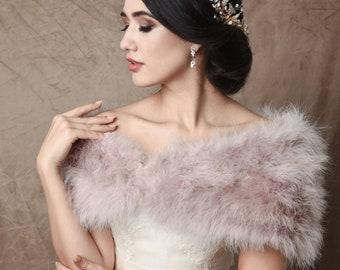 Delicate lavender , Mauve Marabou Feather Stole - Beautiful Vintage Inspired Shrug, Wrap