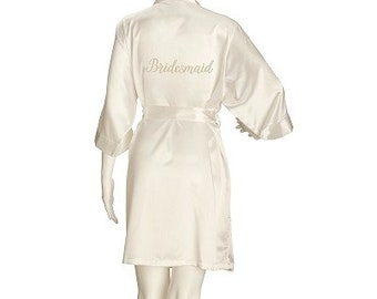 Beautiful Bridesmaid Robe,  Wedding Robe, Bridal Cover Up, Satin Ivory Robe - Brides & Maid of Honour also available