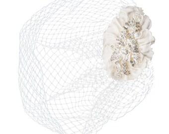 Vintage Luxe Birdcage Veil, Ivory Silver Birdcage Veil, Satin & Crystal Embellished Birdcage Veil, Bridal Accessories, Bridal Hair