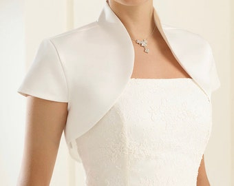 Beautiful Matte Satin Bolero - Wedding Dress Cover Up Accessories,  Ivory Satin Shrug