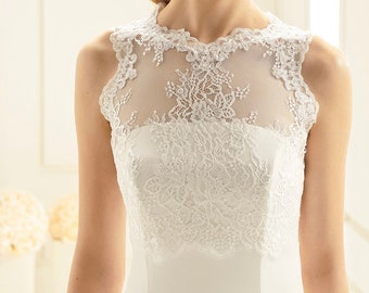 Floral Lace Bolero - Wedding Dress Cover Up Accessories,  Ivory Keyhole Back Lace Cover Up