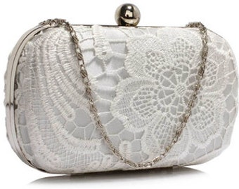 Beautiful Classic Lace Clutch Bag, Bridal Bag, Wedding Bag Silver or Ivory Deluxe Party or Event Clutch Bag