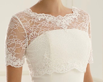 Beautiful French Lace Bolero - Wedding Dress Cover Up Accessories,  Ivory French Lace