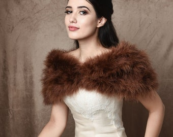 Chocolate Brown Marabou Feather Stole - Beautiful Vintage Inspired Shrug, Wrap
