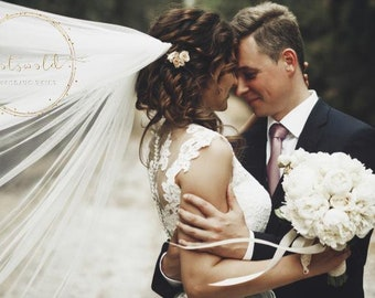 """98"""" Corded Edge - 2 layered Soft Tulle Wedding Veil, 98 inches, 250 cm - Ivory Veil, Chapel Length"""