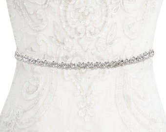 Crystal Cluster Belt, Crystal Embellished Bridal Belt,  Beautiful Wedding Dress Belt, Bridal Gown Sash, Silver or Rose Gold