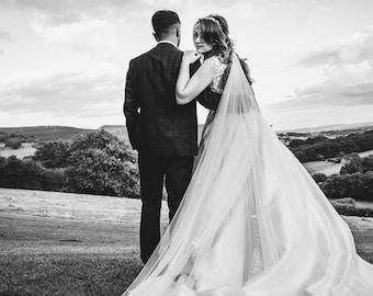 "118"" Swarovski Crystal Wedding Veil,  Beaded Edge & Rhinestone Single Layer Tulle Veil, 118 inches, 300 cm - Ivory Veil, Cathedral Length"