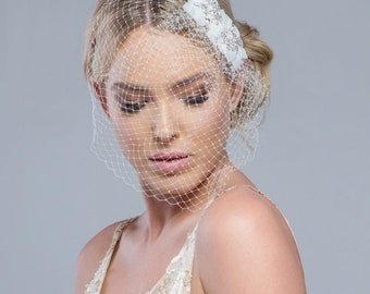 Starlet Bridal Birdcage Veil, Ivory Silver Birdcage Veil
