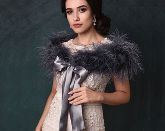 Grey Ostrich Feather Stole - Beautiful High Quality Luxury Shrug, Wrap