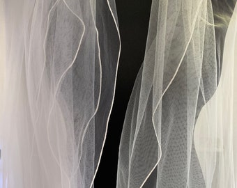 "32"" Corded Edge - 2 layered Soft Tulle Lace Wedding Veil, 32 inches, 82 cm - Ivory or White Veil, Waist Length"