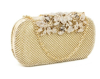Beautiful Vintage Vine Crystal Clutch Bag, Bridal Bag, Wedding Bag,  Gold,  Silver or Black Deluxe Party or Event Accessories