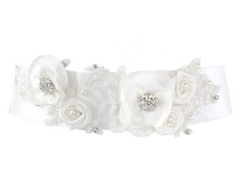 Beautiful Bridal Floral Sash,  Wedding Dress Belt, Ivory Sash, Pearl & Crystal Embellished Ivory Satin Sash