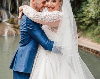 "118"" Genuine Swarovski Wedding Veil,  Pencil Edge - 2 Tier Diamond Tulle Veil,  118 inches, 300 cm - Ivory or White, Cathedral Length"