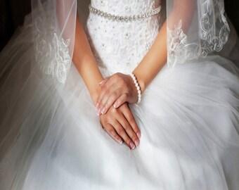 Beautiful Bridal Belt, Wedding Dress Belt, Silver or Rose Gold Crystal Treasure Bridal Belt, Satin Ribbon