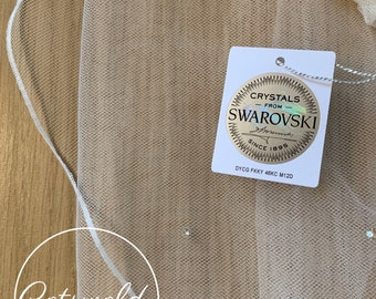 "118"" Genuine Swarovski Bridal Wedding Veil,  Pencil Edge - Single Layer Soft Tulle Veil 118 inches, 300 cm - Ivory or White Cathedral Length"