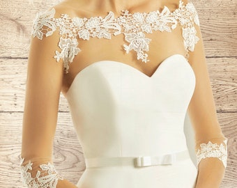 Beautiful Stretch Lace Bolero - Wedding Dress Cover Up Accessories,  Ivory Lace